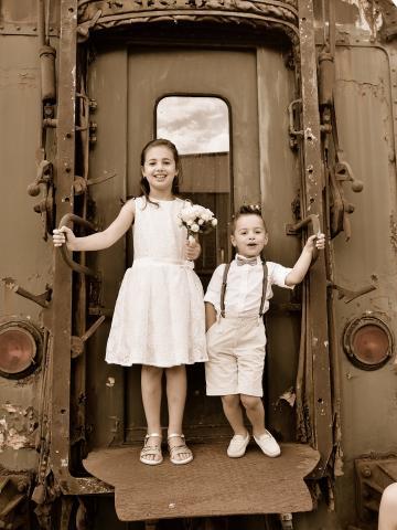 retro trein huwelijk