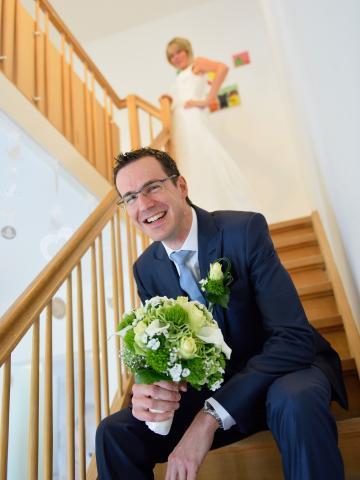 bruidspaar trap
